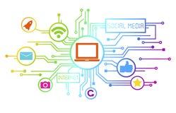 Concetto dei media sociali come medium di informazioni Immagini Stock Libere da Diritti
