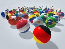 Concetto dei palloni da calcio Fotografie Stock