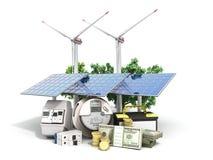 Concetto dei pannelli solari economizzatori d'energia e di un mulino a vento vicino al me Fotografia Stock Libera da Diritti
