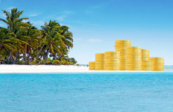 Concetto dei paradisi fiscali e di attività bancarie offshore Immagini Stock Libere da Diritti
