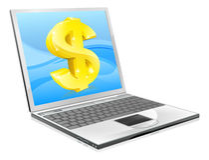 Concetto dei soldi del dollaro del computer portatile Immagini Stock