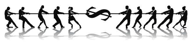 Concetto dei soldi del dollaro di conflitto Fotografia Stock Libera da Diritti