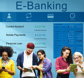 Concetto dei soldi di finanza della carta di credito di attività bancarie della Banca di e-banking fotografia stock