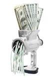 Concetto dei soldi. I dollari sono macinati in tritacarne fotografia stock