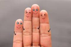 Concetto dei togethernes del fronte del dito della famiglia Fotografia Stock Libera da Diritti