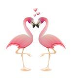 Concetto del biglietto di S. Valentino di amore del cuore dei fenicotteri Immagini Stock Libere da Diritti
