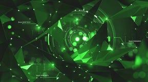 Concetto del blockchain e di intelligenza artificiale Flussi di informazioni globali Ologramma della rete neurale illustrazione vettoriale