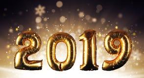 Concetto del buon anno con i numeri dorati fotografia stock