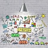 Concetto del business plan attinto un muro di mattoni bianco Immagini Stock Libere da Diritti