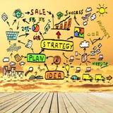 Concetto del business plan nel cielo Immagini Stock