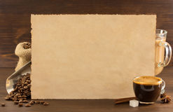 Concetto del caffè su legno fotografia stock