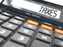 Concetto del calcolo di imposte, calcolatore illustrazione di stock