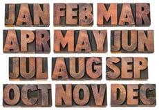 Concetto del calendario - mesi nel tipo di legno Fotografia Stock