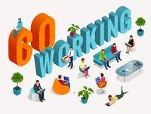Concetto del centro coworking Riunione d'affari Luogo di lavoro comune La gente che parla e che lavora al Immagine Stock