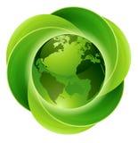 Concetto del cerchio del globo delle foglie Fotografia Stock