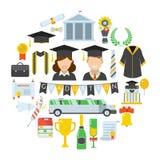 Concetto del cerchio di cerimonia di certificazione di giorno di laurea Fotografia Stock