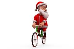 concetto del ciclo di 3d il Babbo Natale Fotografia Stock Libera da Diritti