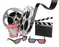 Concetto del cinema, cereale di schiocco, 3d vetri, bobina di film Fotografia Stock Libera da Diritti