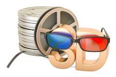 concetto del cinema 3D, vetri 3D e bobine di film, rappresentazione 3D Immagine Stock