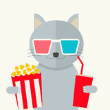 Concetto del cinema Film di sorveglianza del gatto Fotografia Stock
