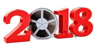 2018 concetto del cinema, rappresentazione 3D Immagine Stock Libera da Diritti