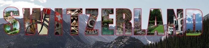 Concetto del collage della Svizzera Fotografia Stock