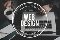 Concetto del collegamento del taccuino del homepage Digital di web design fotografie stock