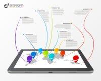 Concetto del collegamento della mappa di mondo moderno Modello di Infographic Fotografia Stock