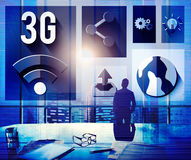 concetto del collegamento delle comunicazioni globali della rete 3G Immagine Stock Libera da Diritti
