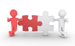 Concetto del collegamento di due puzzle Fotografia Stock