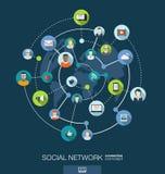 Concetto del collegamento di rete sociale Fondo astratto con i cerchi e le icone integrati per digitale, Internet, media Fotografie Stock Libere da Diritti