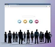 Concetto del collegamento a Internet di ottimizzazione del motore di ricerca Fotografia Stock Libera da Diritti