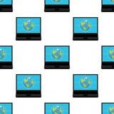 Concetto del collegamento sul modello del computer portatile Immagini Stock
