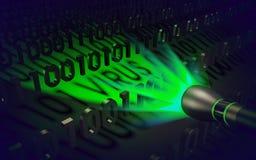 Concetto del computer: la torcia elettrica speciale individua il codice dannoso Fotografie Stock Libere da Diritti