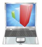 Concetto del computer portatile del grafico del diagramma a colonna Immagine Stock