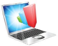 Concetto del computer portatile del grafico del diagramma a colonna Fotografia Stock