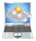 Concetto del computer portatile dell'icona del sole e della nube del tempo Fotografie Stock