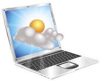 Concetto del computer portatile dell'icona del sole e della nube del tempo Fotografia Stock