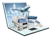 Concetto del computer portatile di logistica Fotografie Stock Libere da Diritti