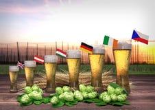 Concetto del consumo della birra del mondo 3d rendono Immagine Stock