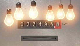 Concetto del consumo di energia e di elettricità Molte lampadine e elettroscopio nel fondo 3D ha reso l'illustrazione illustrazione di stock