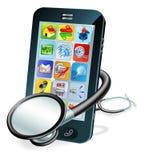 Concetto del controllo sanitario del telefono delle cellule Immagini Stock