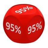 Concetto 95% del cubo di sconto Fotografia Stock Libera da Diritti