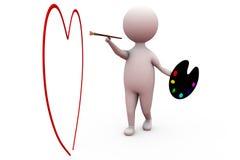 concetto del cuore della pittura dell'uomo 3d Fotografia Stock Libera da Diritti