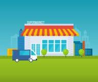 Concetto del deposito del supermercato con l'assortimento dell'alimento, le ore di apertura e le opzioni di pagamento, illustrazi Fotografia Stock