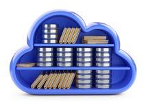 Concetto del deposito della nuvola con lo scaffale, il simbolo del hdd e le cartelle Front View fotografie stock