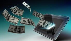 Concetto del deposito di app dei soldi e della compressa Fotografia Stock