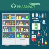 Concetto del deposito e dell'insieme di elementi della farmacia Vettore royalty illustrazione gratis