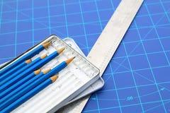 Concetto del disegno Modelli e strumenti di progettazione Fotografia Stock Libera da Diritti