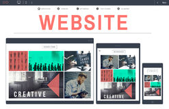 Concetto del dispositivo del homepage Digital di WWW di web design del sito Web fotografia stock
